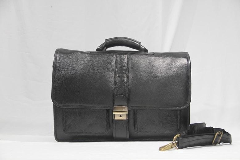 Half flap covered black leather laptop bag