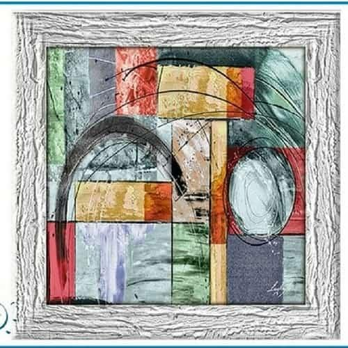 Quadro astratto moderno stampa su tela lavorata a mano color