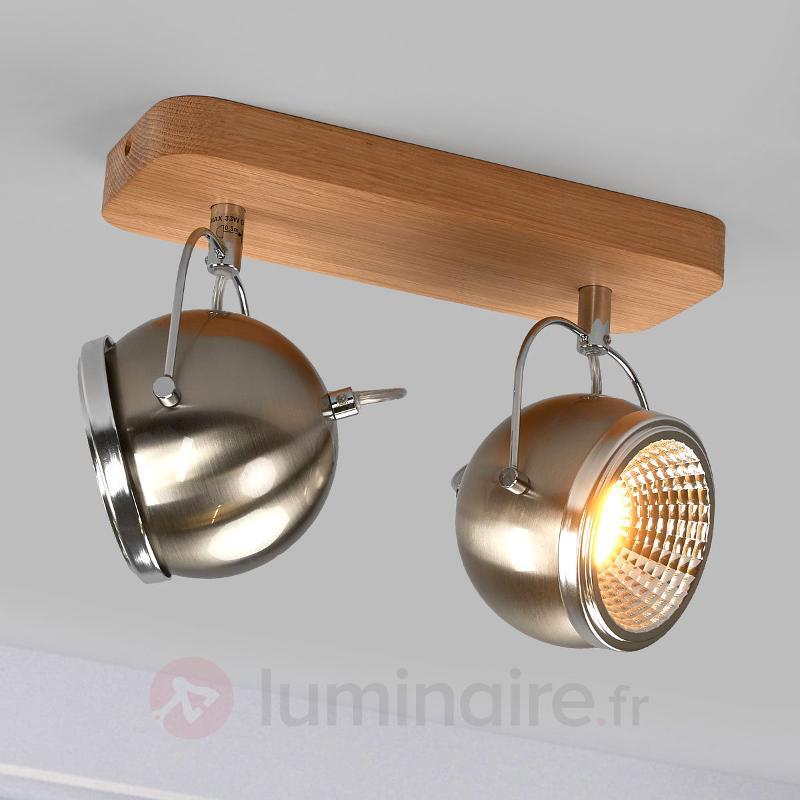 Plafonnier LED Ball Wood chêne huilé 2 lampe - Spots et projecteurs LED