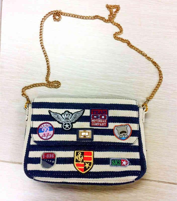 Colorful canvas style hot selling pu leather clutch bag - Embroidery patch