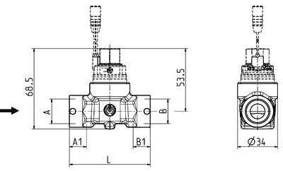 Corps de montage en laiton pour la vanne à cartouche - 50.007.52x