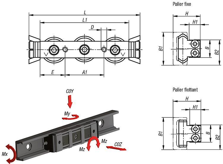 Chariot de guidage à rouleaux acier - Rails de guidage à rouleaux