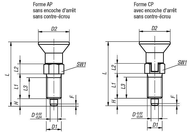 Doigts d'indexage avec frein-filet - Doigt d'indexage à corps lisse