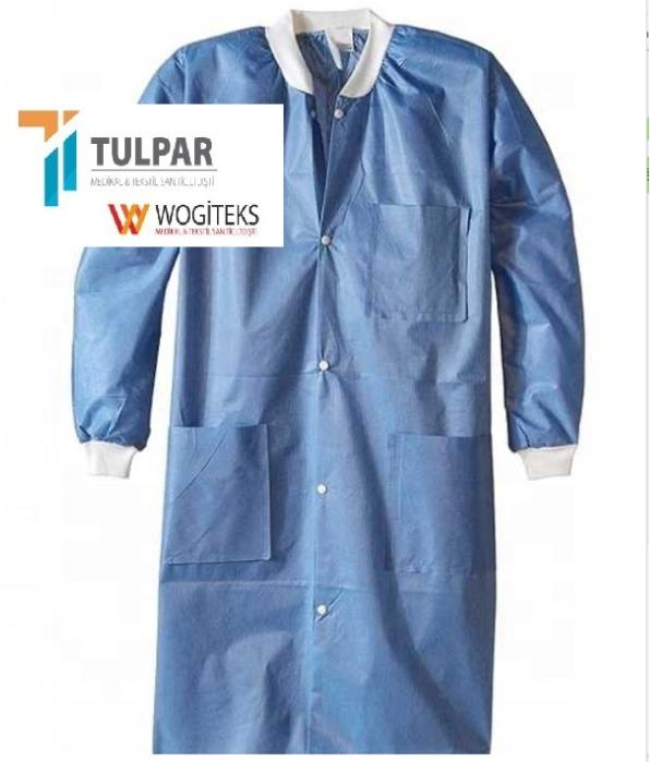 lab coats snap button sms disposable medical blue  uniform - lab coat snap button sms disposable medical blue  uniform sms smms material