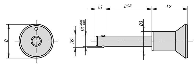 Flexibles Normteilesystem - Kugelsperrbolzen Edelstahl selbstsichernd