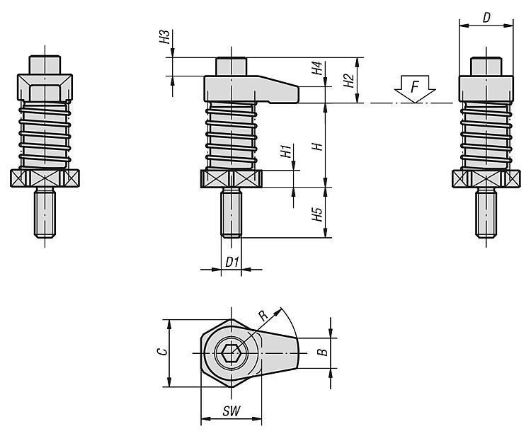 Flexibles Normteilesystem - Spannhaken mit Bund