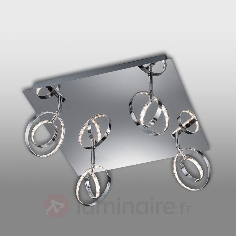 Plafonnier LED Linnea carré à 4 lampes - Plafonniers LED