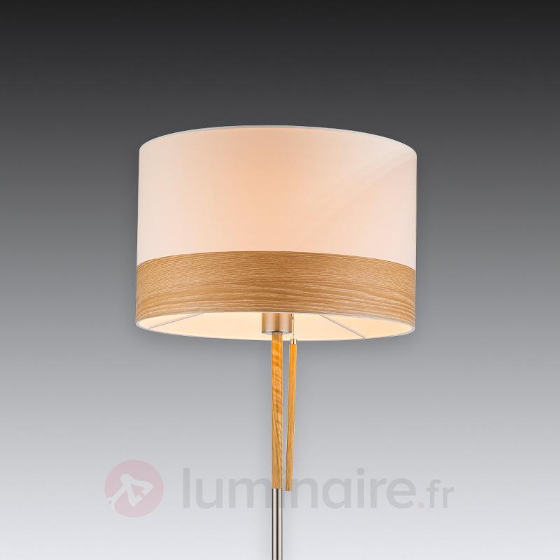 Lampadaire Libba bois crème, avec tirette - Lampadaires en tissu