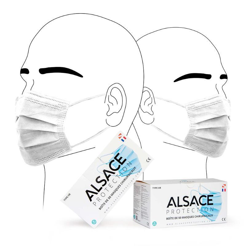 BOÎTE DE 50 MASQUES CHIRURGICAUX - ENFANT - FABRIQUÉ EN FRANCE - TYPE IIR - Masque De Protection Respiratoire