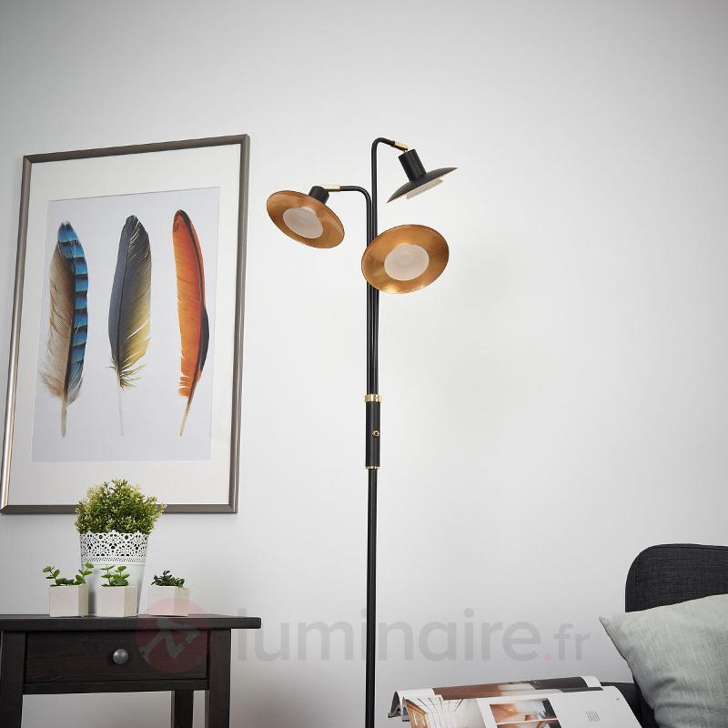 Lampadaire LED à 3 lampes Andrej, noir-doré - Lampadaires LED