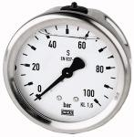 Glycerine pressure gauge, rear centric, G 1/4, 0 -... - Glycerine-filled pressure gauge, connection on rear, centrical