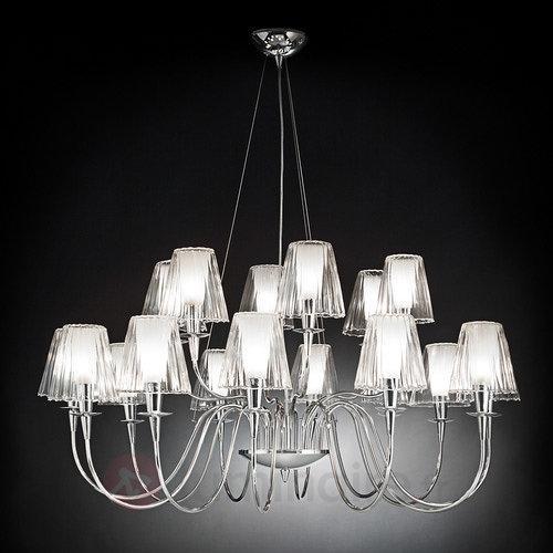 Lustre Opéra à 18 lampes avec abat-jour en verre - Lustres à abat-jour
