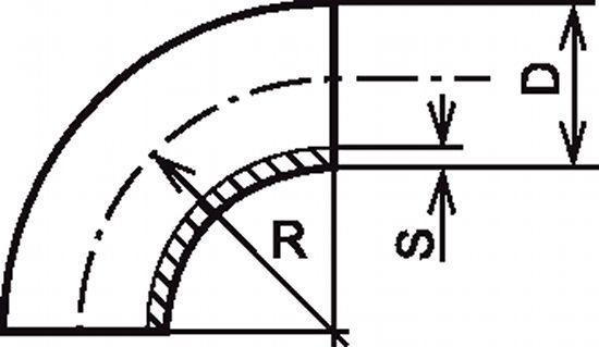 COUDE À 90° 1,5D SANS PARTIE DROITE INOX 304 - 316 L (62211)