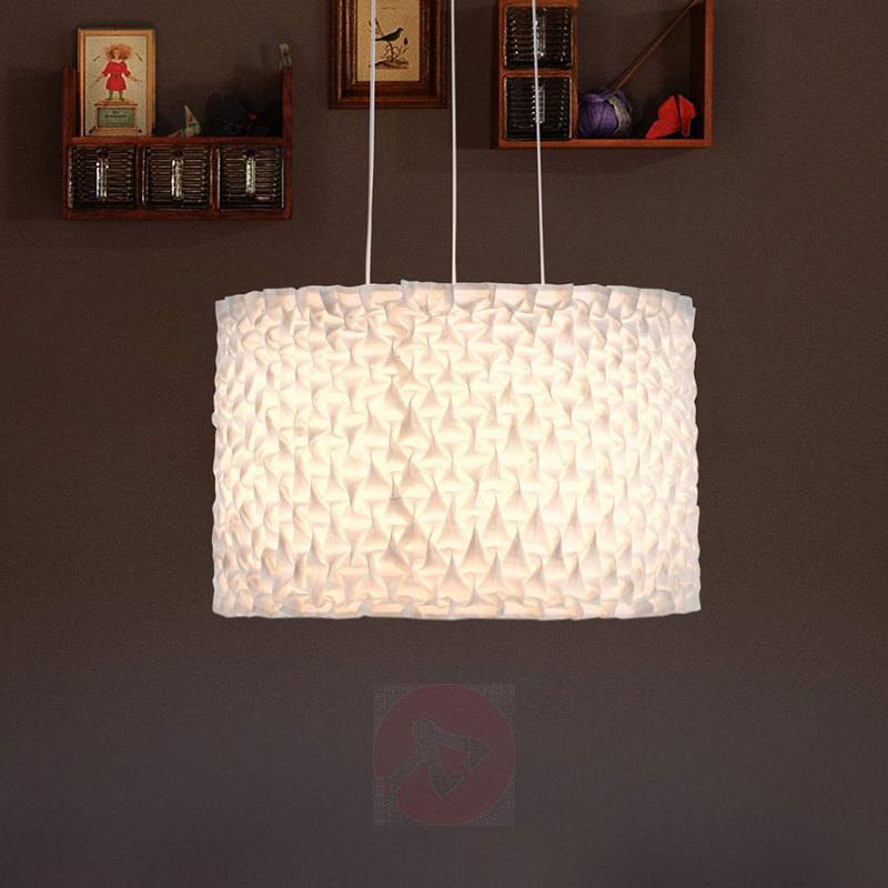 Hanging light Gentle with gathered wild silk shade - design-hotel-lighting