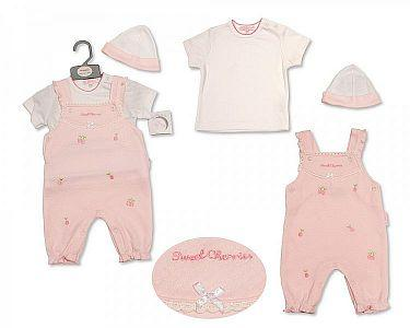 Baby Girls Dungaree Set with Hat - Sweet Cherries  -