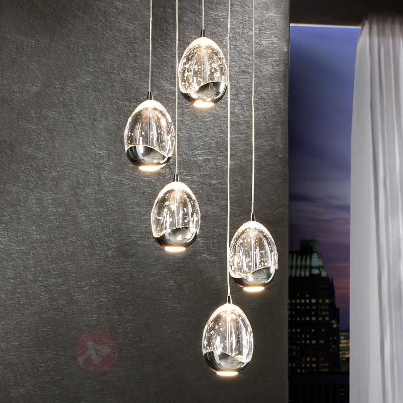 Suspension LED Rocio à cinq lampes, chromée - Suspensions LED