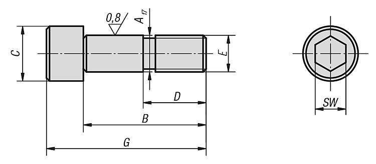 Vis CHC rectifiée forme A - Éléments de positionnement