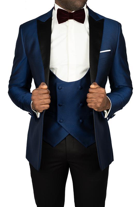 Smoking bleu indigo col pointe - Costumes de cérémonie