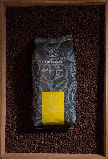Coffee Marcelletti - GOLD 1 Kg - Roasted Coffee Beans - 80 % Arabica 20 % Robusta