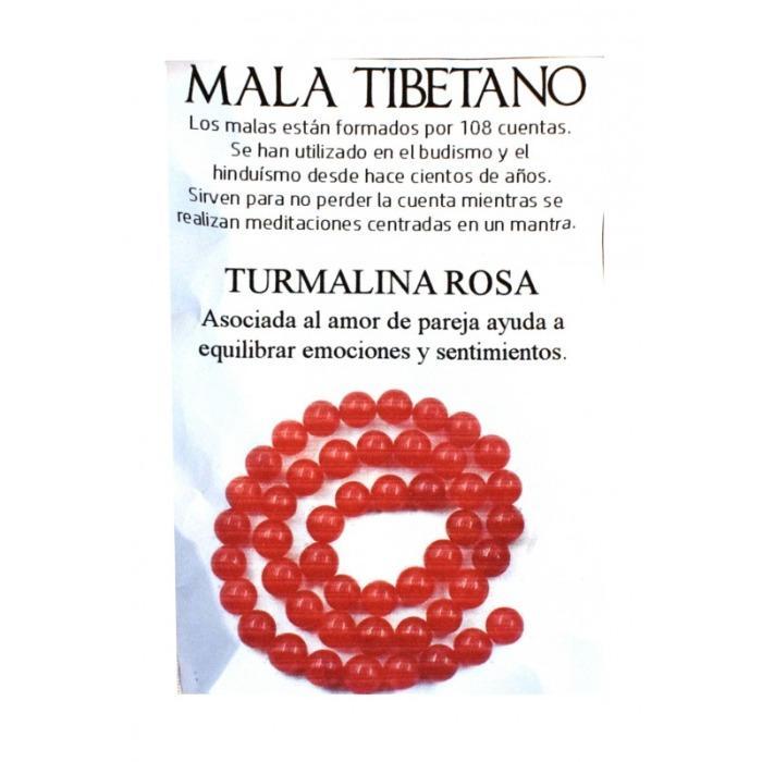 COLLAR 8MM MALAS TURMALINA ROSA MINERAL -