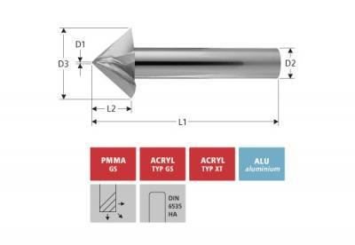 Milling Tools: for PMMA- and PC-plastics - solid carbide conical bevelling cutter 45°: with triple flut
