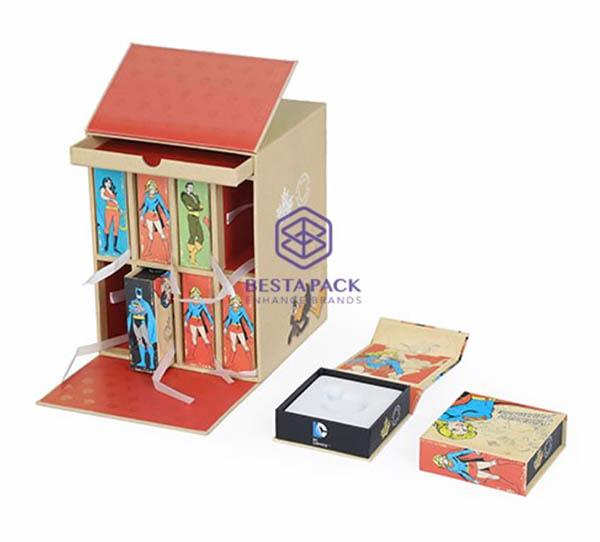 Casella di abbonamento moneta - Scatola con coperchi a doppia cerniera, 8 scatole di libri, 1 vassoio scorrevole