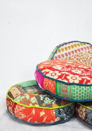Embroidered Patchwork Chair Pad -