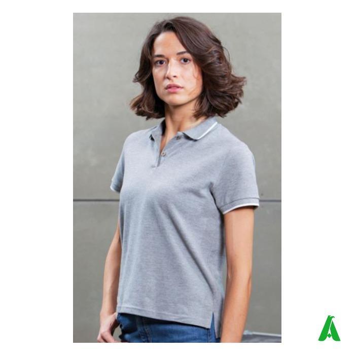 Polo piquet 100% cotone organico di qualita', per donna - Polo piquet tipped per donna, in tessuto cotone organico di alta qualita'