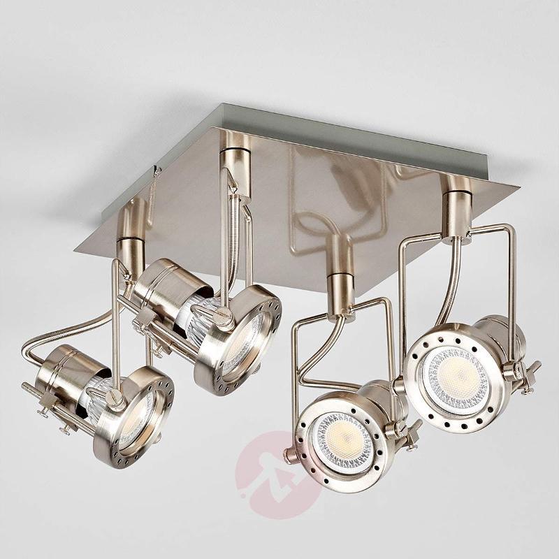 Agidio LED ceiling lamp, 4-light, satin nickel - Ceiling Lights