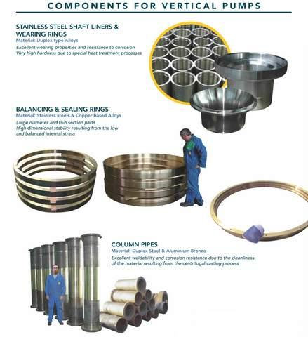 Components for pumps - centrifugal castings in stainless steel or copper alloys for vertical pumps