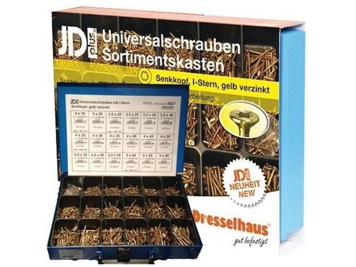 Sortiment Koffer & Boxen - Dresselhaus 8627 JDPlus Universalschraube TX, SK gelb verzin