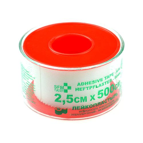 SFM Seide Heftpflaster - Plastikschutzring in Cover 2.5cm x 5m (1)