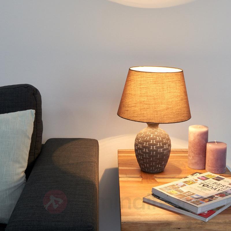 Lampe à poser en céramique originale Cage - Lampes à poser en tissu
