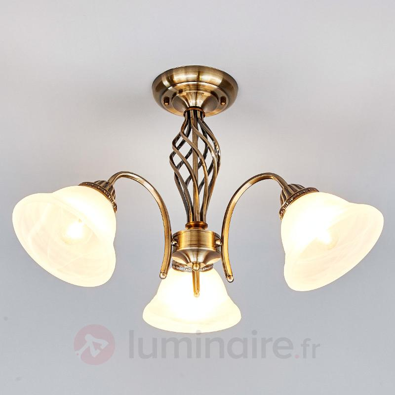 Plafonnier Mialina en laiton ancien à 3 lampes - Plafonniers classiques, antiques
