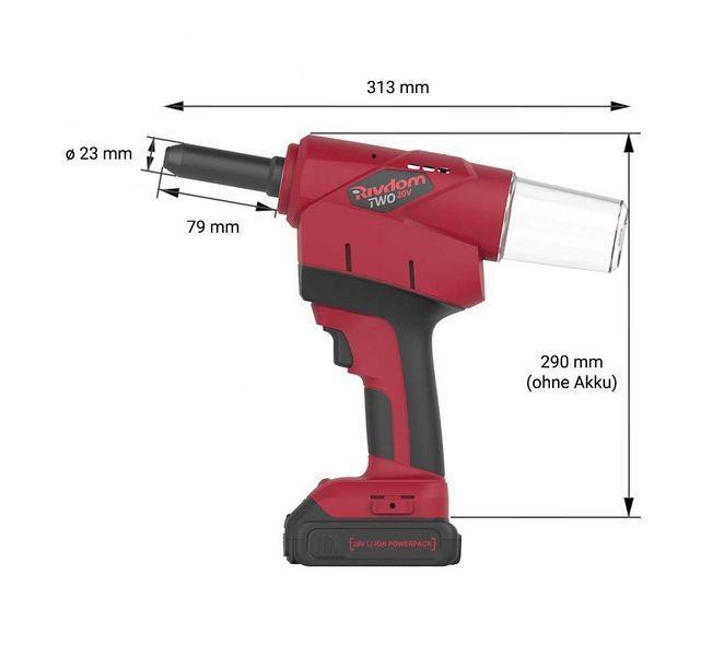 Blindniet-Setzgerät RivdomTWO 20V - Blindniet-Setzgerät für Blindniete bis 6,4 mm Durchmesser - alle Materialien