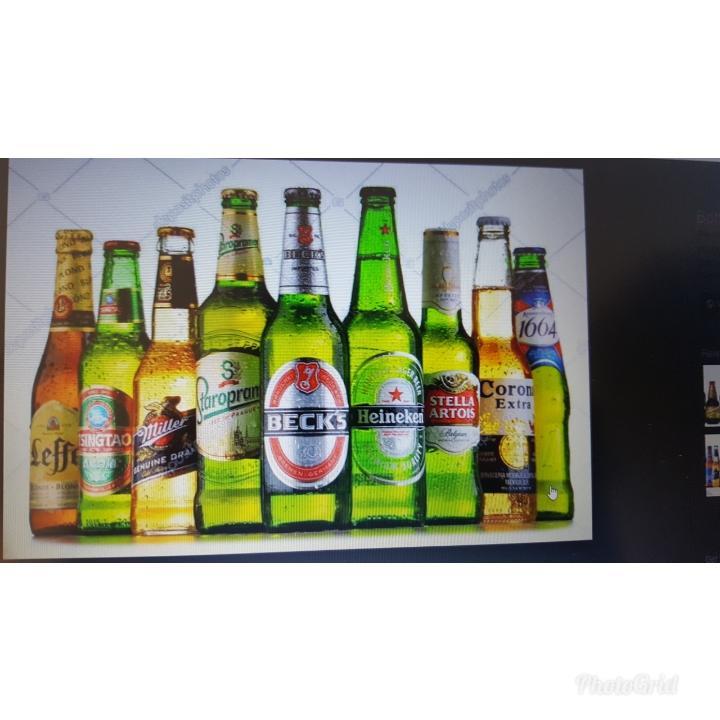 All major brands of beer - Heineken,Corona,Desperados,Stella,Peroni,Amstel Beer,Becks,Carlsberg Beer etc et