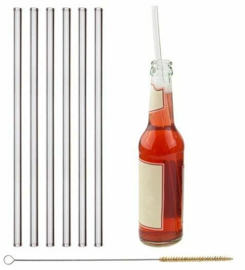 6x 30cm (gerade) Glasstrohhalme für Flaschen von 0,33... - null
