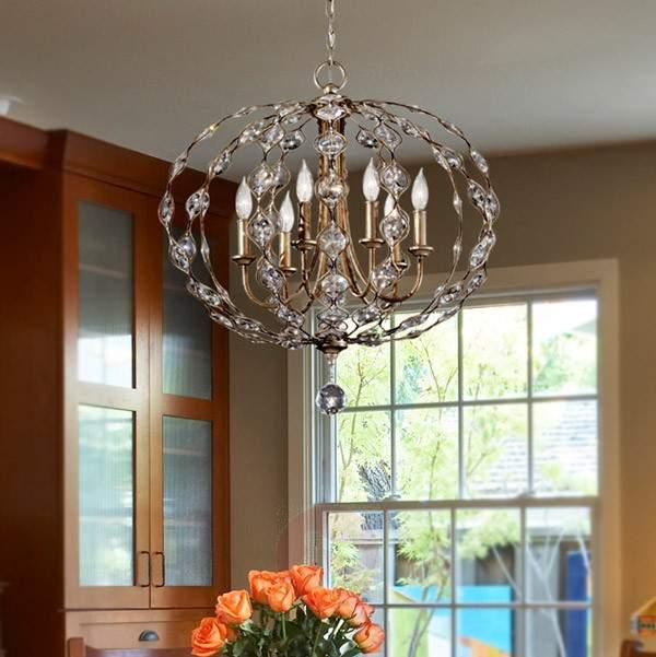 Leila richly-decorated crystal chandelier, 6 bulbs - Chandeliers
