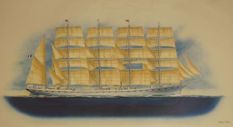 240x125 cm ~ Peinture, Acrylique ~ Toile - 5 masted sailing ship France II 2009
