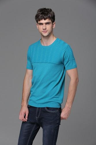 Col rond manches courtes pull homme
