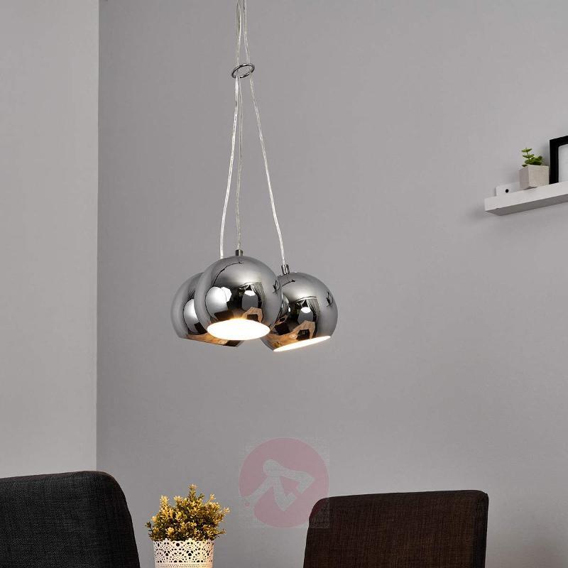 Glossy chrome LED pendant light Pepa - Pendant Lighting