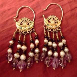 Boucles d'oreilles - Or 20ct,turquoises, perles, grenats, améthystes, Ouzbékistan