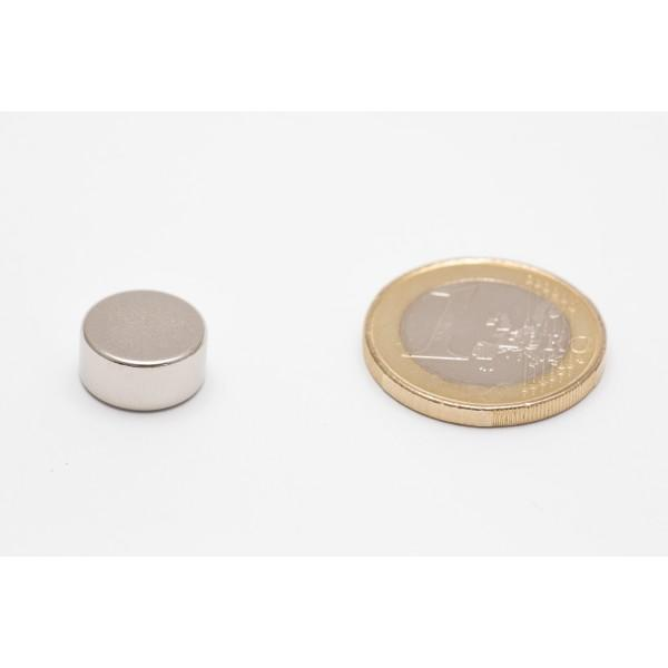 Neodymium disc magnet 12x6mm, N45, Ni-Cu-Ni, Nickel coated - Disc