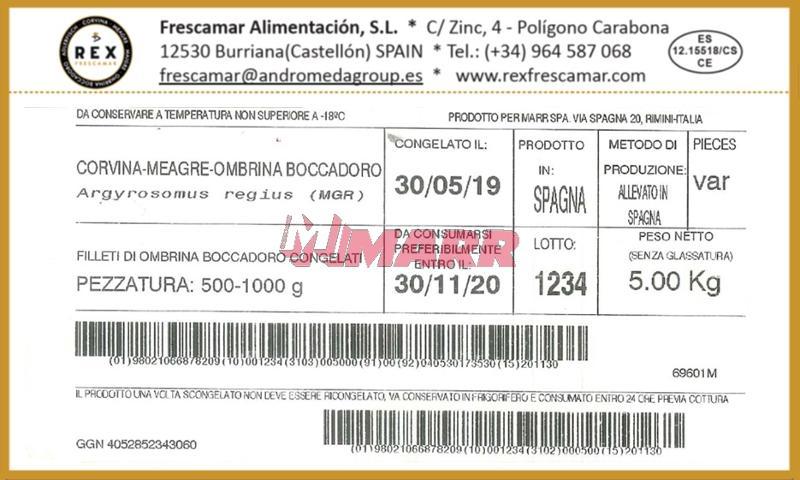 Filetti di Ombrina Boccadoro 500/1000 IQF MARR SELECTION - Ittico - Filetti