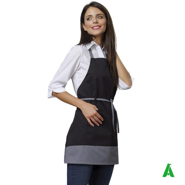 Grembiule donna da sala e cucina personalizzabile - Grembiule con pettorina, lacci, regolabile e personalizzabile