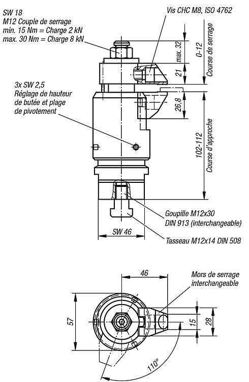 Système de bridage réglable - Crampons, mors de serrage, vis et écrous de serrage