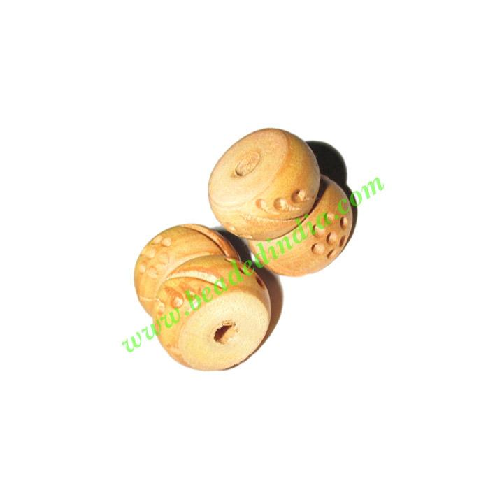 Natural Color Wooden Beads, size 15x18mm, weight approx 1.8  - Natural Color Wooden Beads, size 15x18mm, weight approx 1.8 grams