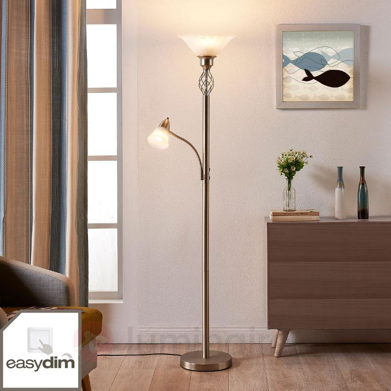 lampadaire led dunja couleur nickel avec liseuse lampadaires led clairage indirect. Black Bedroom Furniture Sets. Home Design Ideas