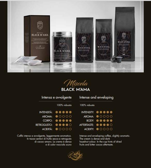 Miscela BLACK MAMA 100% Robusta - Caffè Italiano di alta quality, produzione artigianale