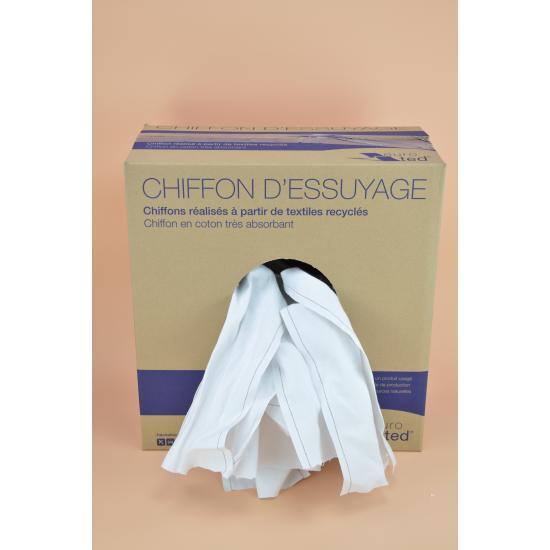 Chiffon essuie matic blanc régulier 100 % coton carton... - Essuyage